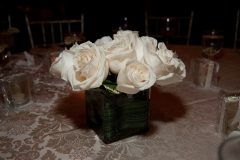 white roses on table at end of evening