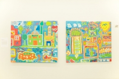 "paintings pictured: (2 of a series): ""Salam City"" (2015), collaboration by children of the Gawilan Refugee Camp, part of an aptART workshop"